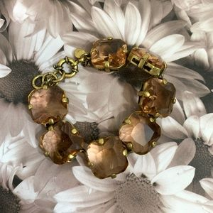 J. Crew Gold & Brown Rhinestone Bracelet {GD}